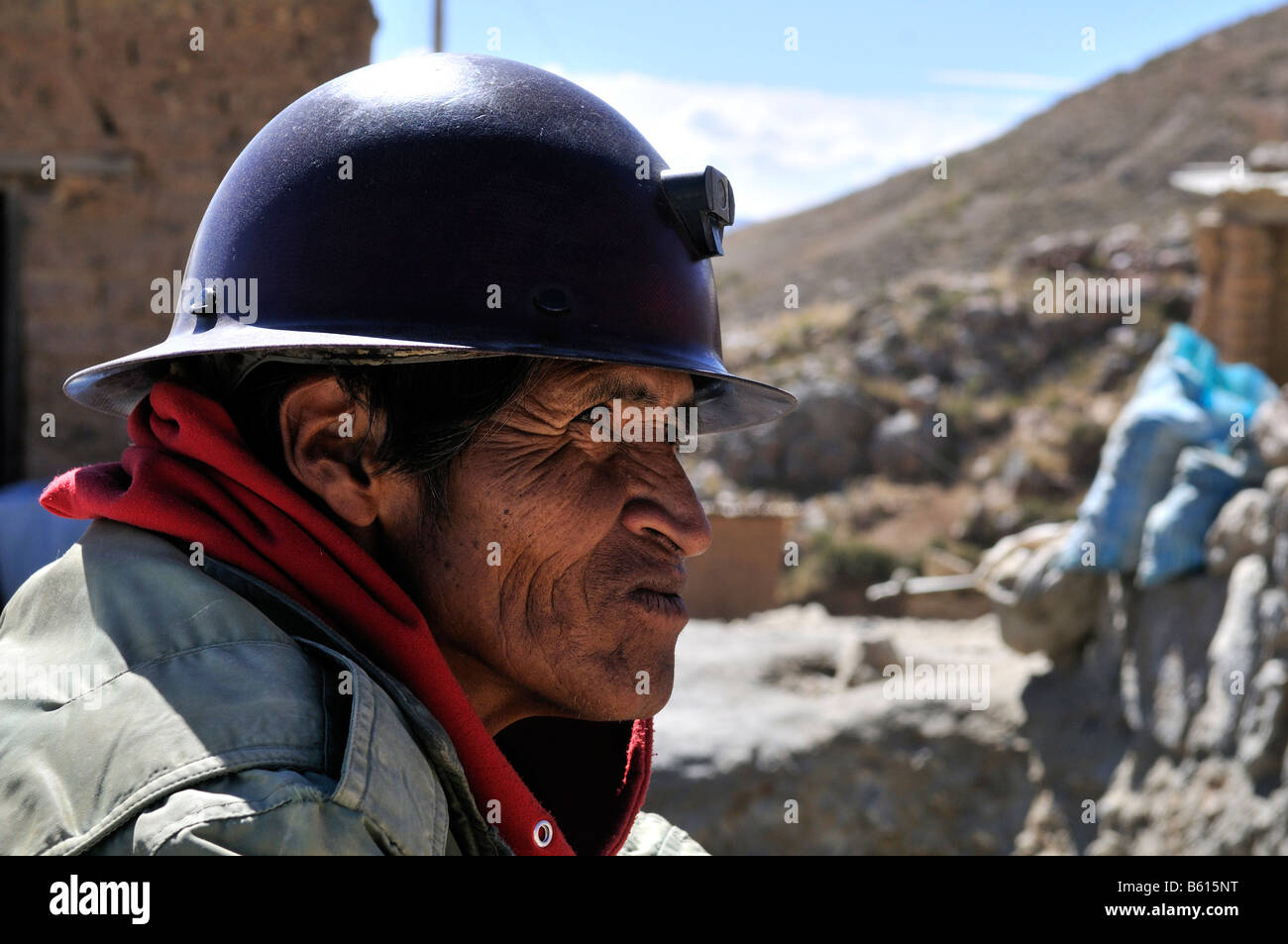 Portrait of a miner, Llallagua mining centre, Potosi, Bolivia, South America - Stock Image