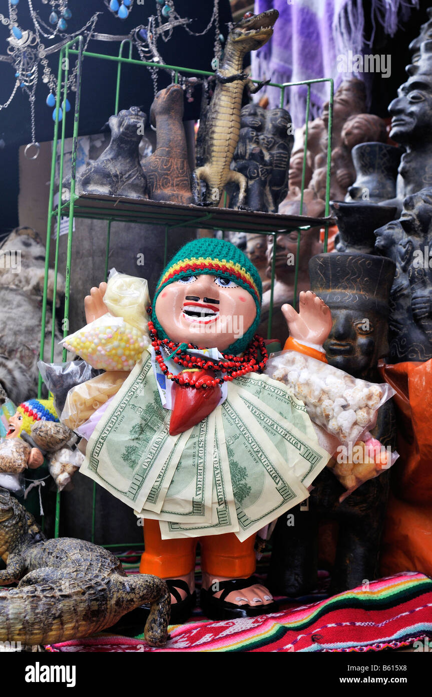 Puppet of a man with cash notes, lucky charm at the stall of a witch, La Paz, Bolivia, South America - Stock Image
