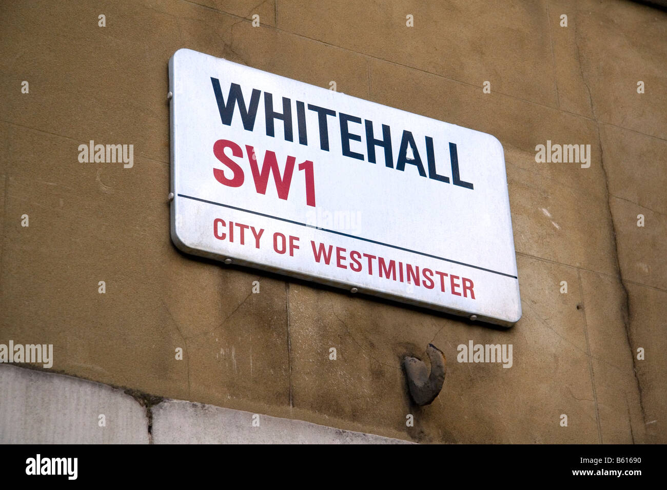 Street sign for Whitehall in London England - Stock Image