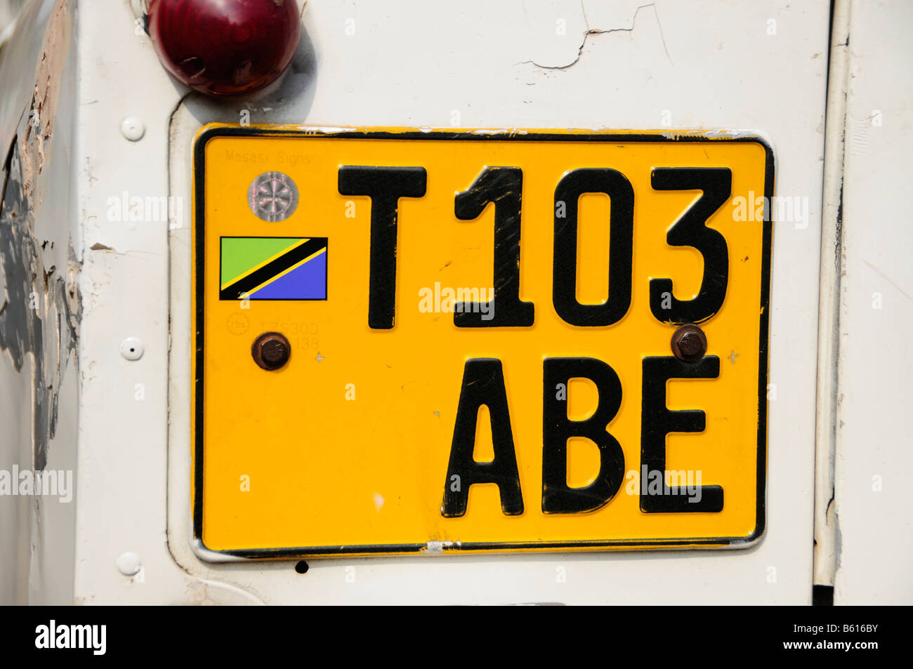 Tanzanian number plate on a car, Arusha, Tanzania, Africa - Stock Image