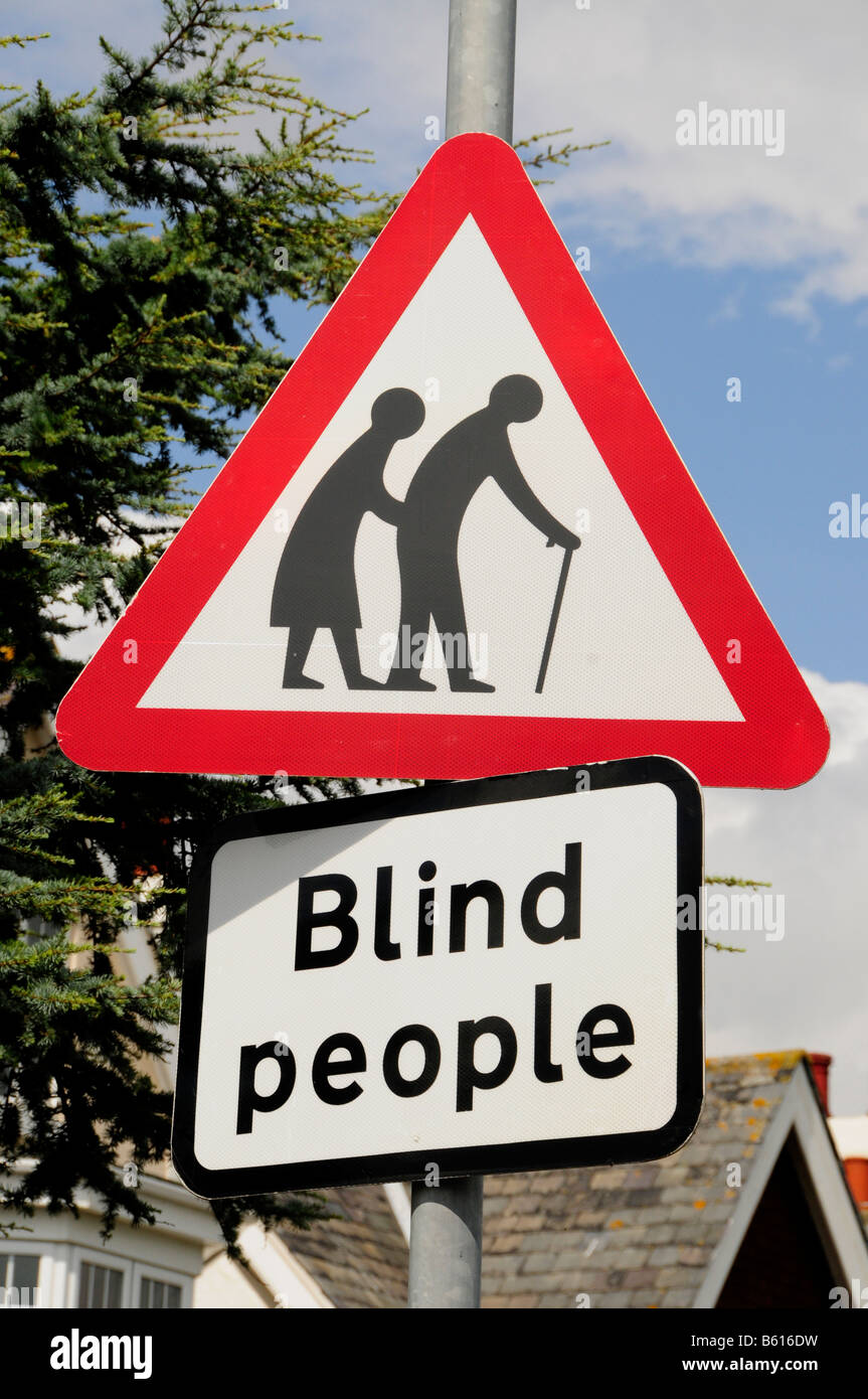 Warning sign 'Blind people' in the seaside resort of Frinton-on-Sea, Essex, England, United Kingdom, Europe - Stock Image
