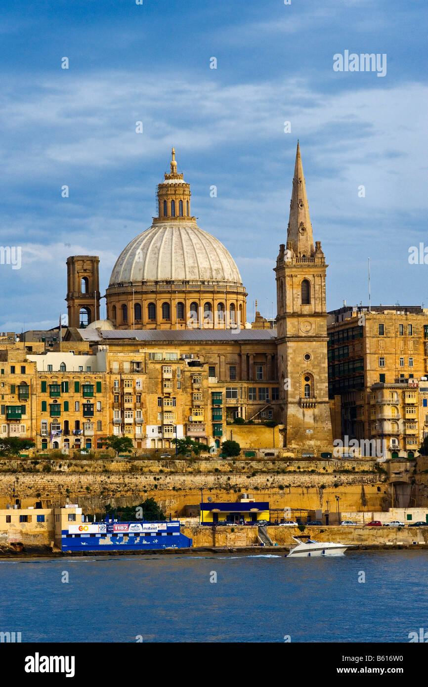 St. Paul's Anglican Cathedral, La Valletta with Grand Harbour, Malta, Europe - Stock Image