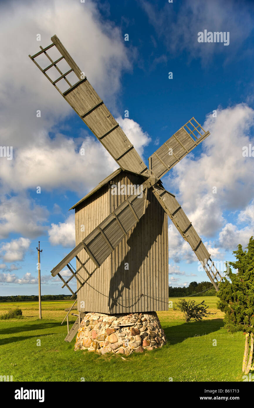 Windmill, Harju, Hiiumaa, Baltic Sea island, Estonia, Baltic States, Northeast Europe Stock Photo