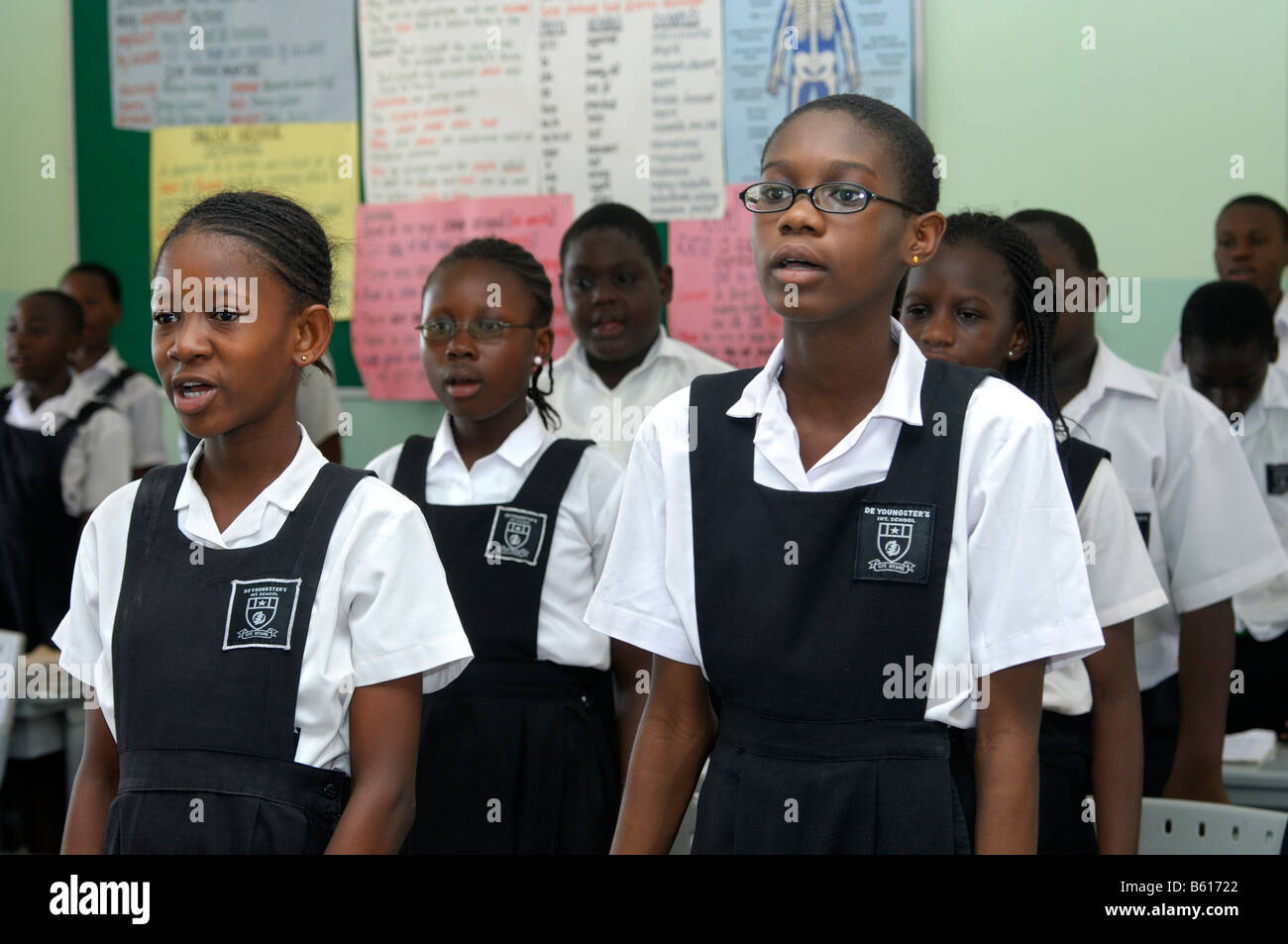 Pupils of the De Youngsters International School waiting for the beginning of the lesson, Accra, Ghana - Stock Image