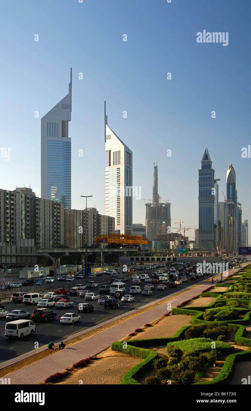 Multistory buildings and traffic, Sheikh Zayed Road, Dubai, United Arab Emirates - Stock Image