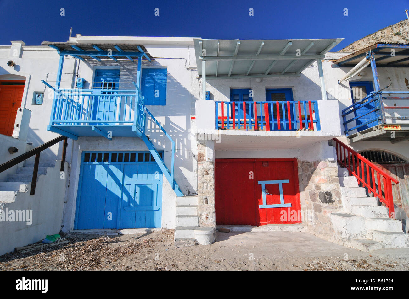 Colourful houses of the fishing village of Klima on Milos Island, Cyclades Island Group, Greece, Europe - Stock Image