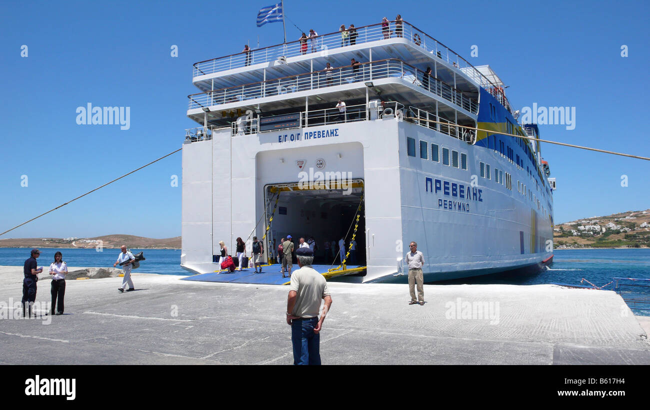 Passengers boarding a car ferry, Cyclades, Greece, Europe - Stock Image