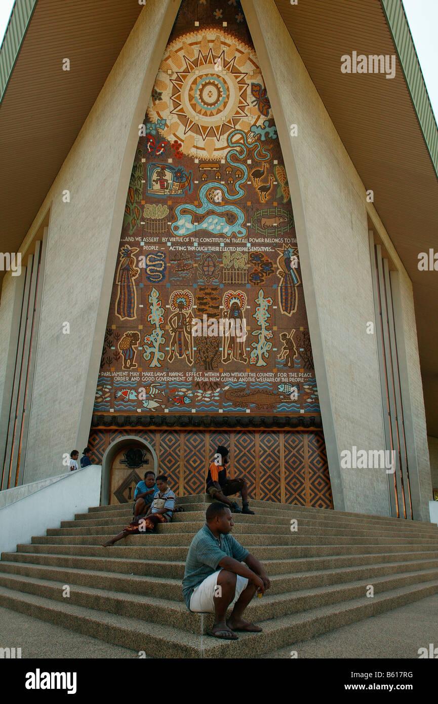 Parliament building, Port Moresby, Papua New Guinea, Melanesia - Stock Image