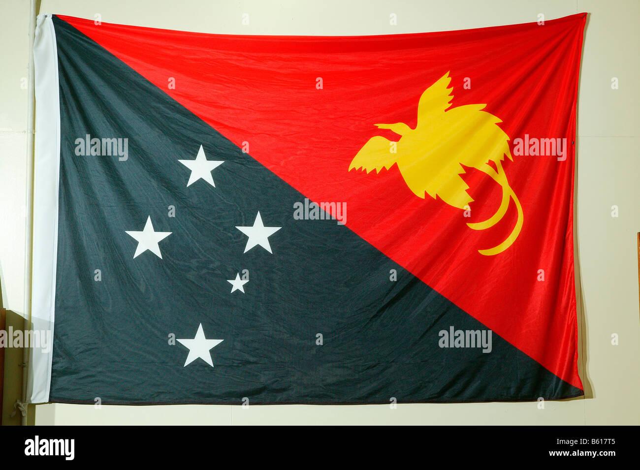 National flag, Port Moresby, Papua New Guinea, Melanesia - Stock Image