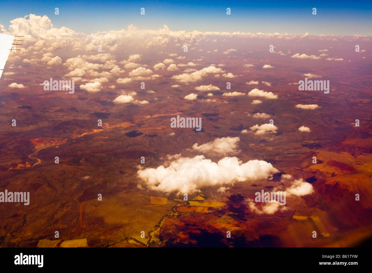 Aerial View fly over overfly flying over overflying  South-Africa africa south red brown earth ambience sourrounding - Stock Image