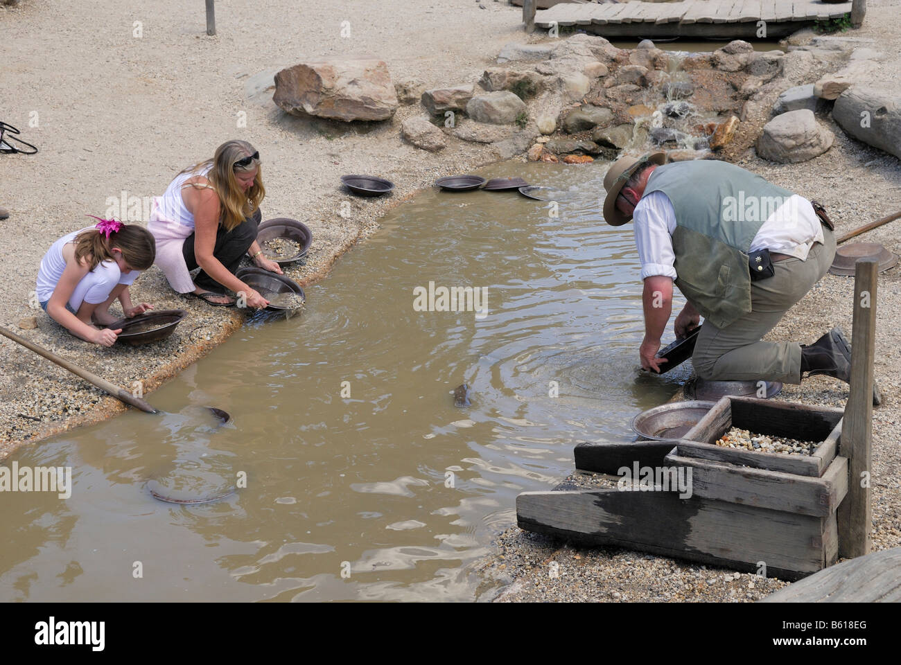 People searching for gold, engrossed in their work, gold mining town of Ballarat, museum town, Victoria, Australia - Stock Image