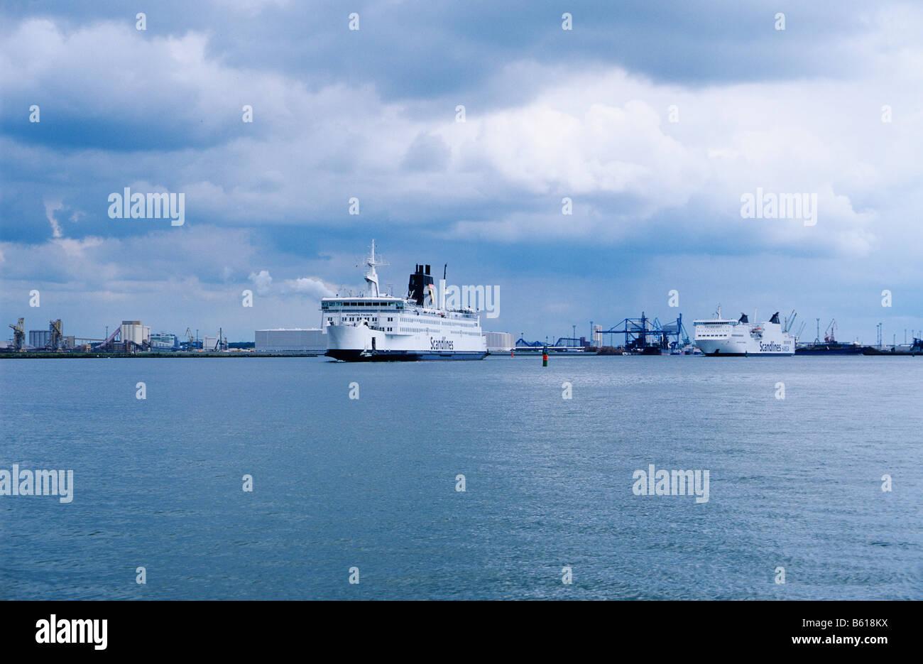 Scandlines ferries in a Baltic Sea port, Mecklenburg-Western Pomerania - Stock Image