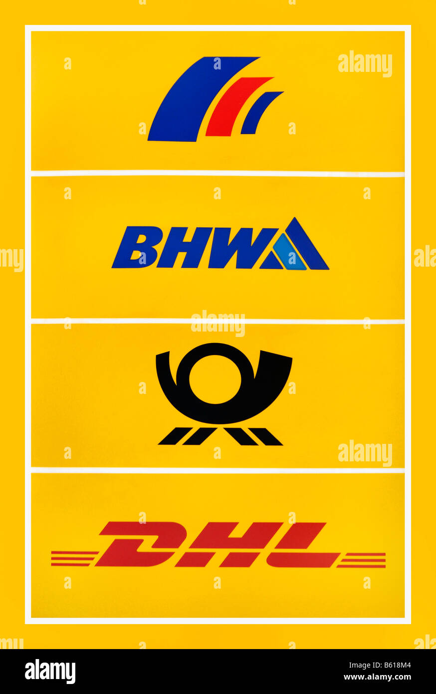 Deutsche Postgruppe, German mail, sign showing logos of Postbank, BHW, Post and DHL - Stock Image