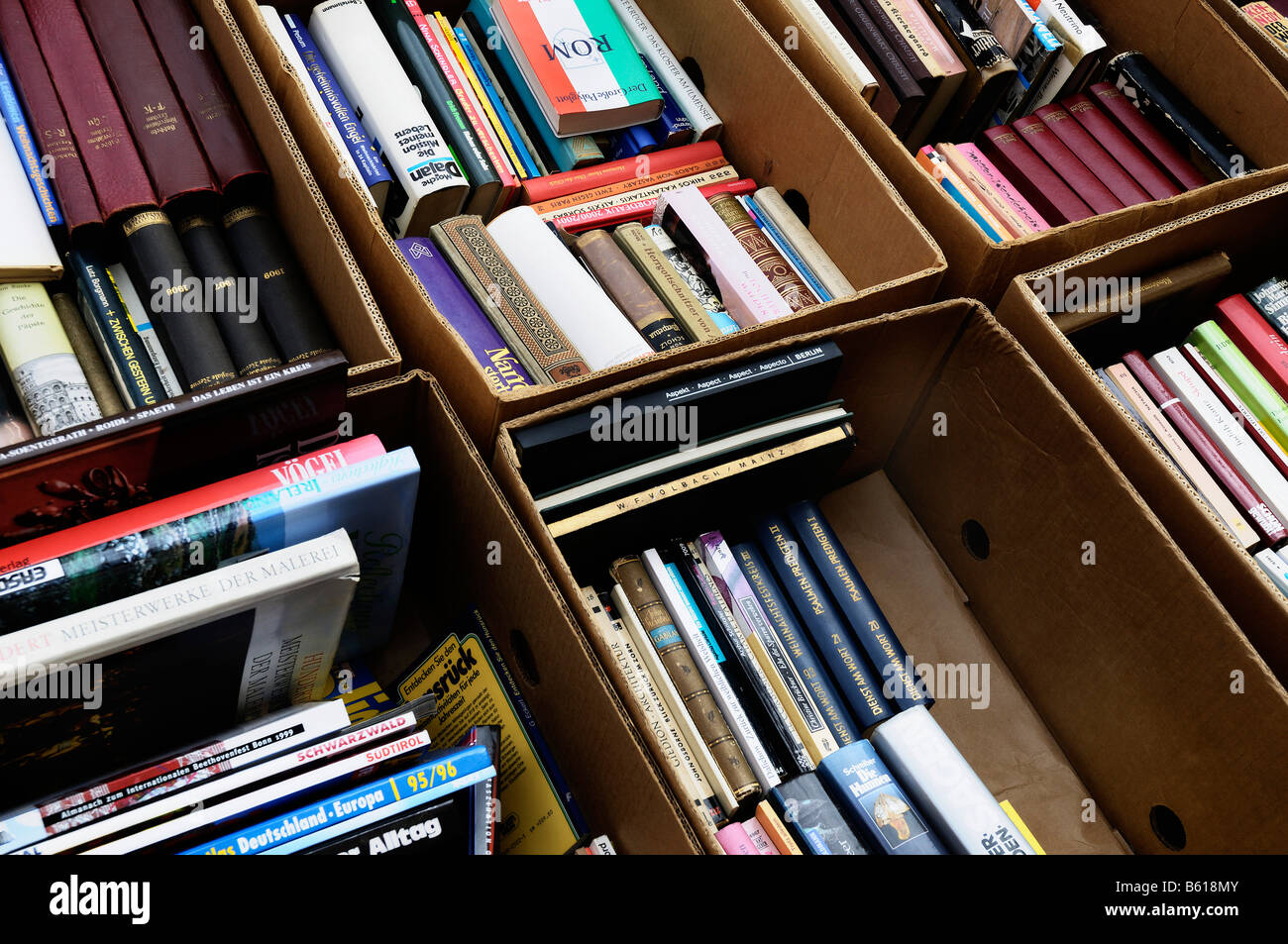 Old books in cardboard boxes, second-hand book market, flea market - Stock Image