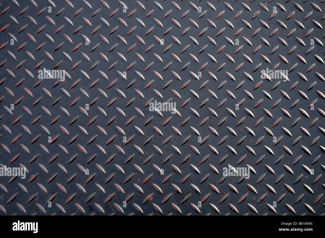Anti-slip structured metal plate - Stock Image