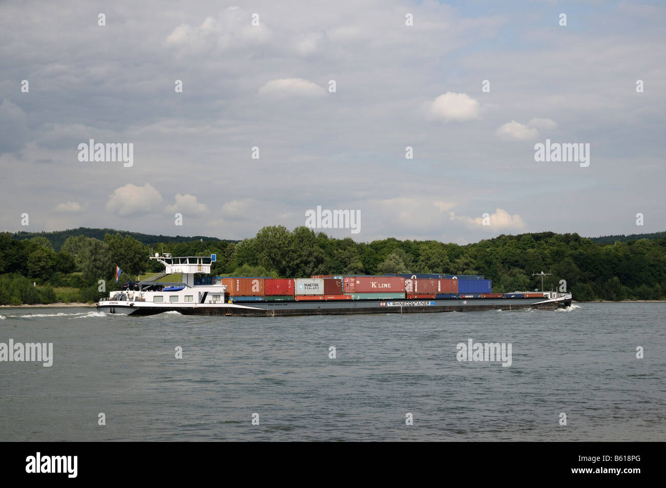 Container ship General on the Rhine River near Bonn, North Rhine-Westphalia - Stock Image