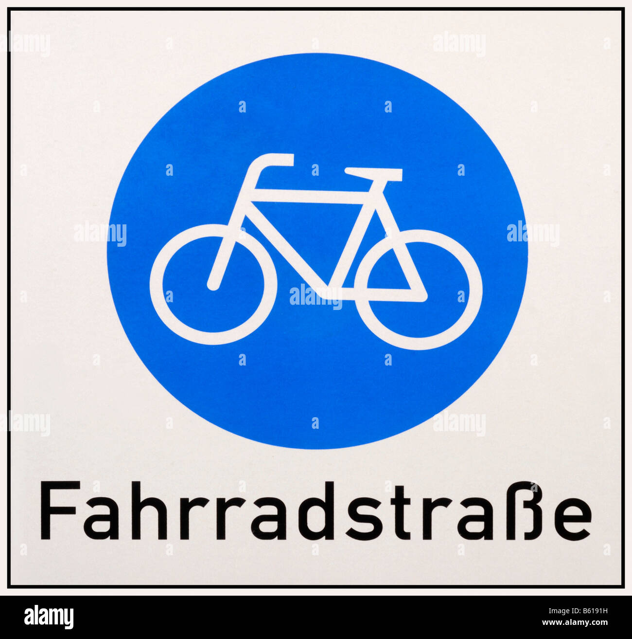 Sign completely filled: Cycle way with a blue cyle sign - Stock Image