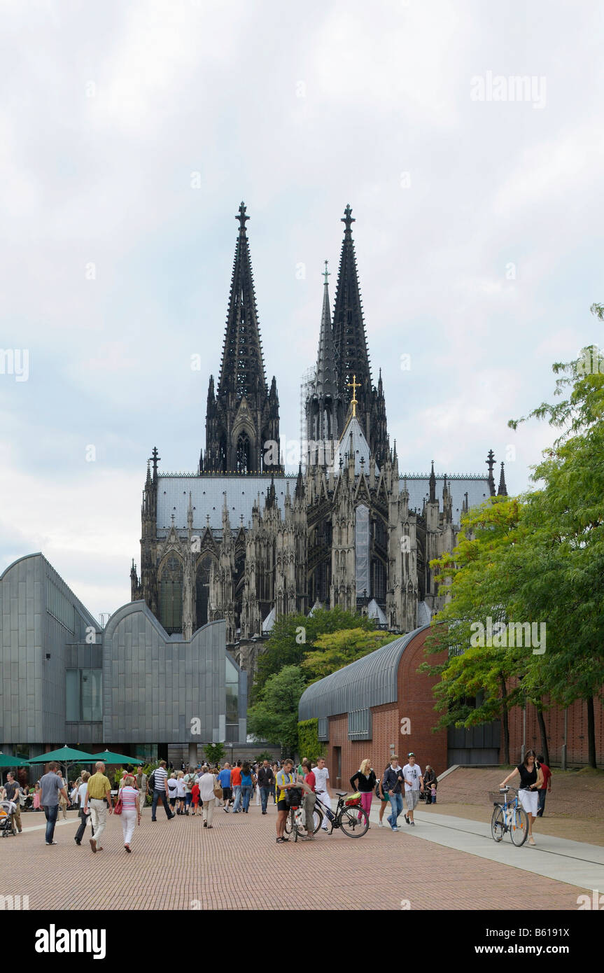 Cologne Cathedral, view from the side of the Rhine, Cologne, North Rhine-Westphalia - Stock Image