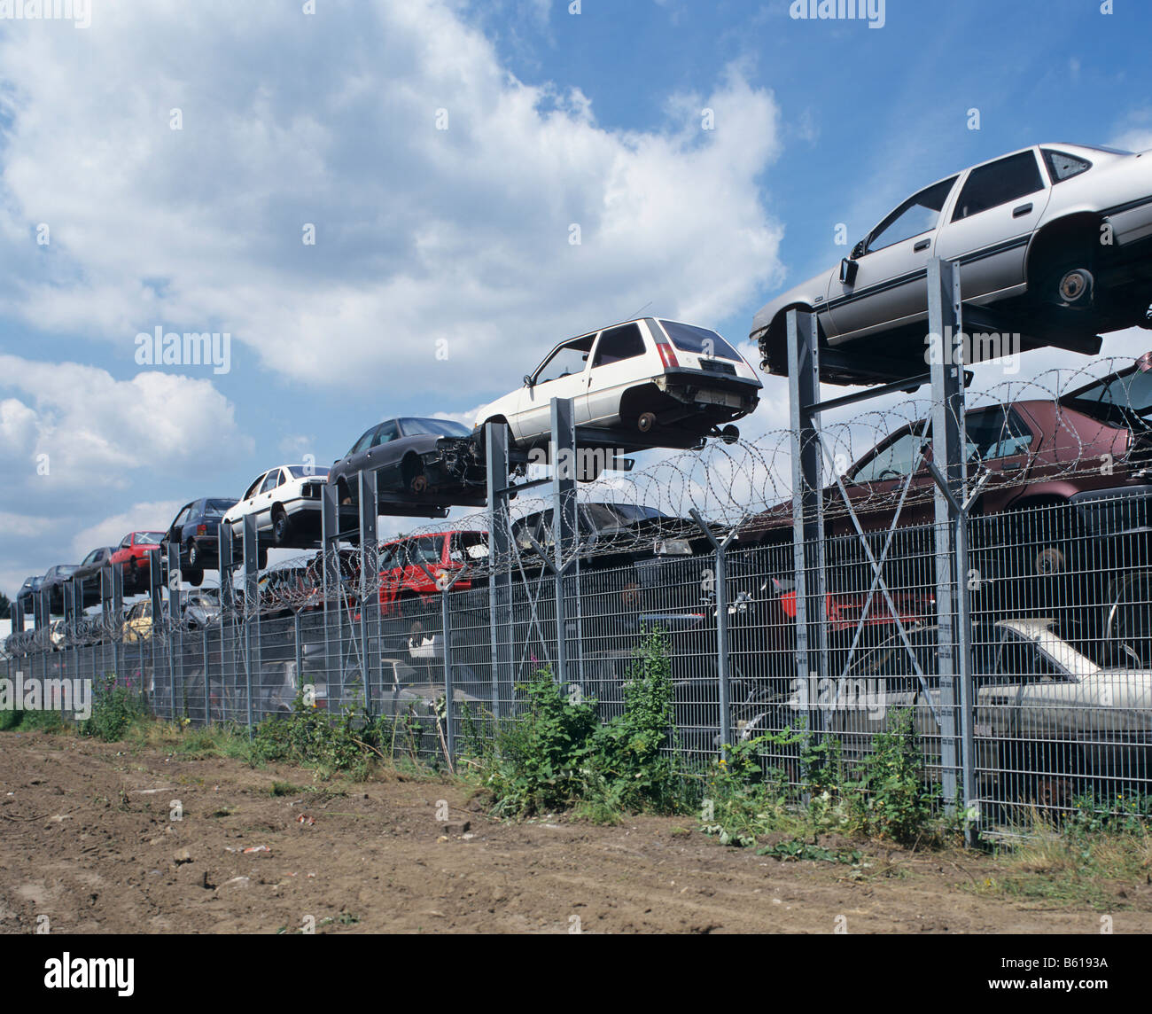 Car chassis at the metal recovery site Stock Photo