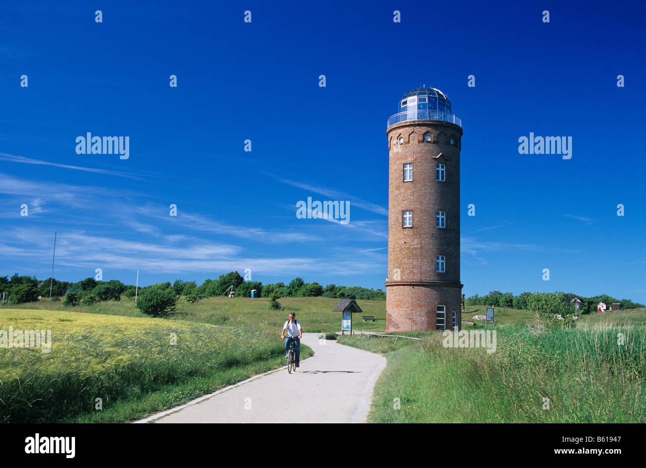 Peilturm Tower on the slavic fortress wall, exhibition building, Kap Arkona, Wittow Peninsula, Ruegen Stock Photo