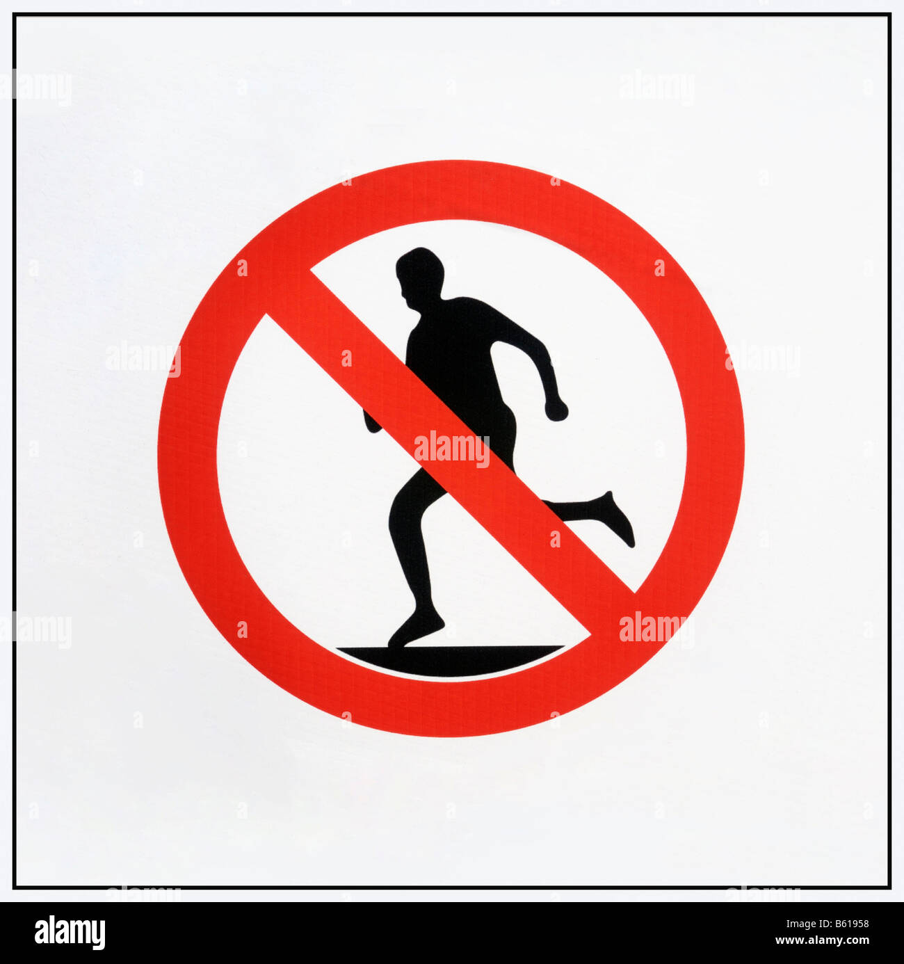 Running forbidden, modified traffic sign - Stock Image