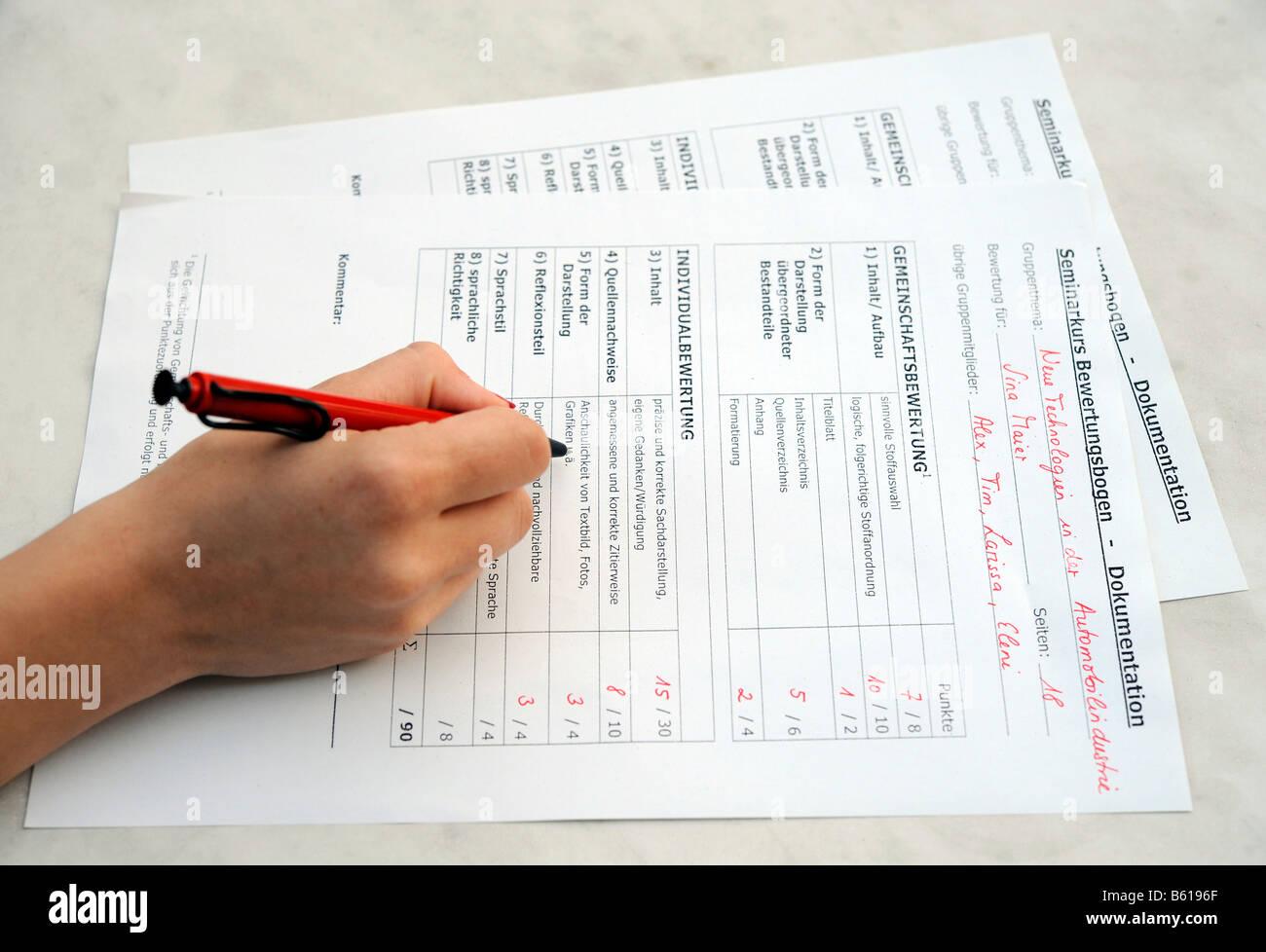Evaluation sheet - Stock Image