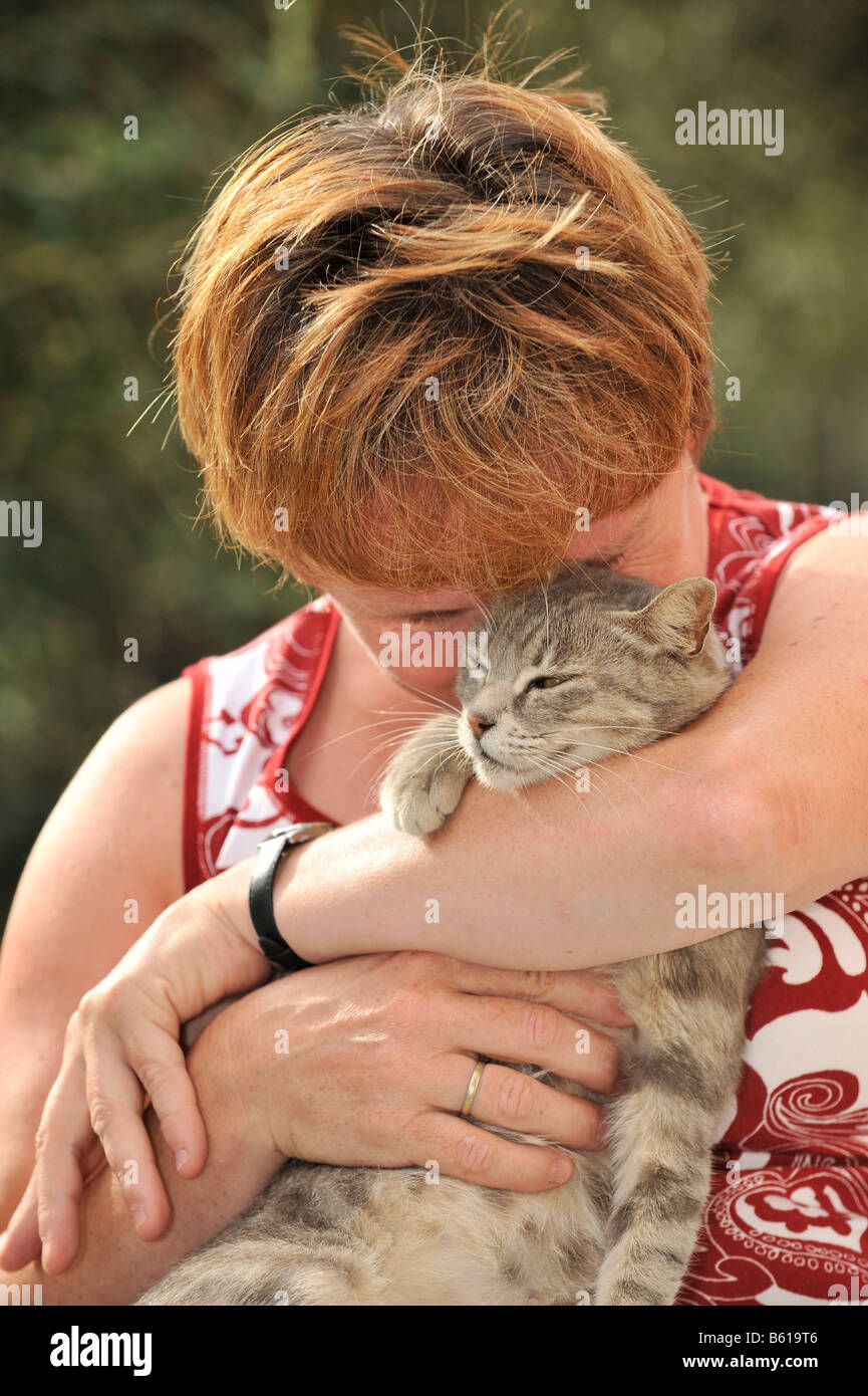 Young grey tabby cat smooching with a woman - Stock Image