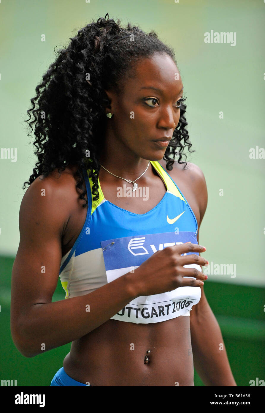 Funmi JIMOH, USA, Long jump athlete at the IAAF 2008 World Athletics Final for track and field in the Mercedes-Benz - Stock Image