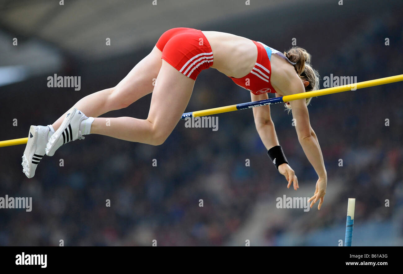 Silke SPIEGELBURG, GER, winner of the pole vault competition at the IAAF 2008 World Athletics Final for track and - Stock Image