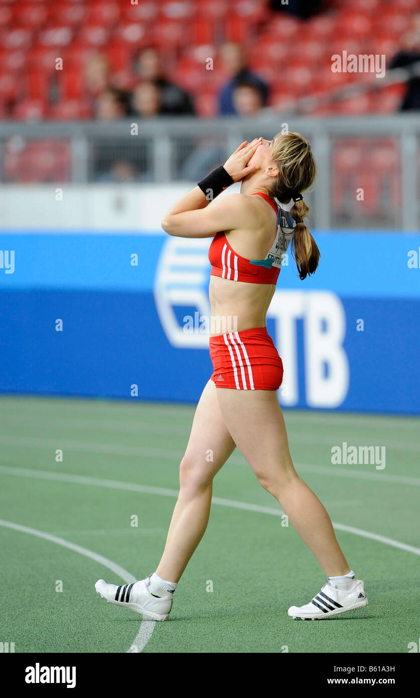 Silke SPIEGELBURG, GER, winner of the pole vault competition at the IAAF 2008 World Athletics Final for track and Stock Photo