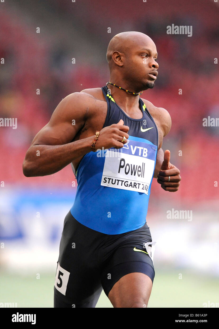 Asafa POWELL, JAM, first place 100m Sprint, at the IAAF 2008 World Athletics Final for track and field in the Mercedes - Stock Image