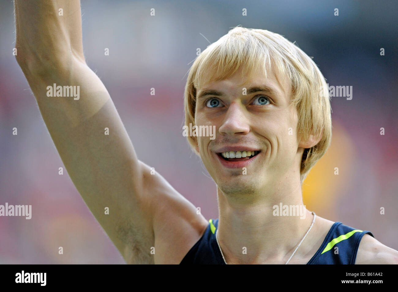 Andrey SILNOV, RUS, High Jump, first place, at the IAAF 2008 World Athletics Final for track and field in the Mercedes - Stock Image