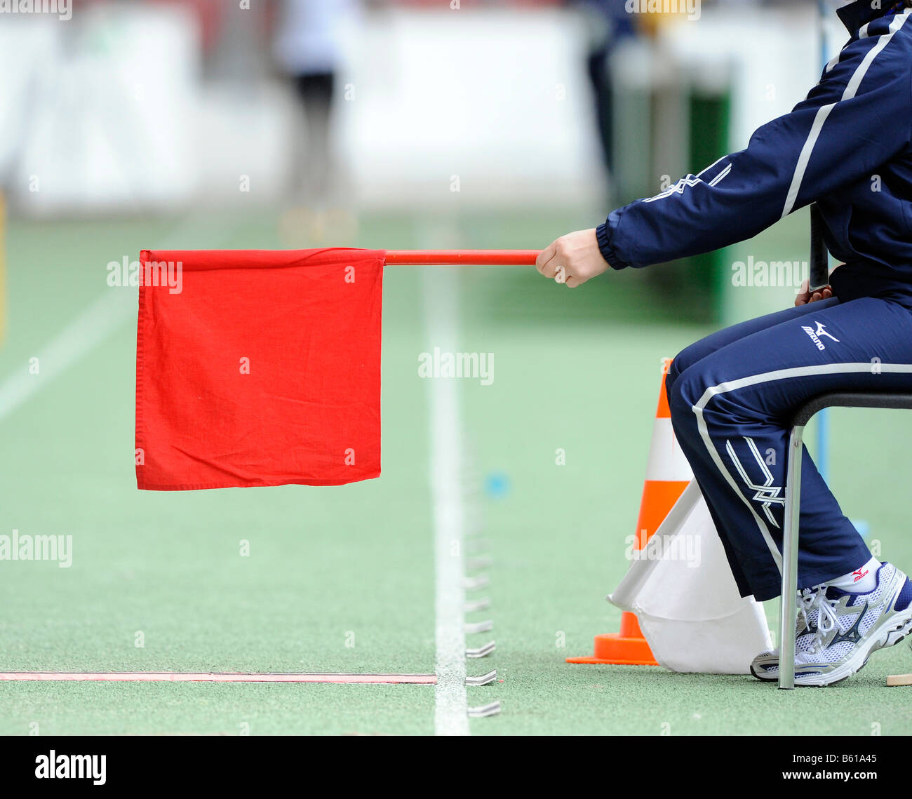 Red flag at the long jump - Stock Image