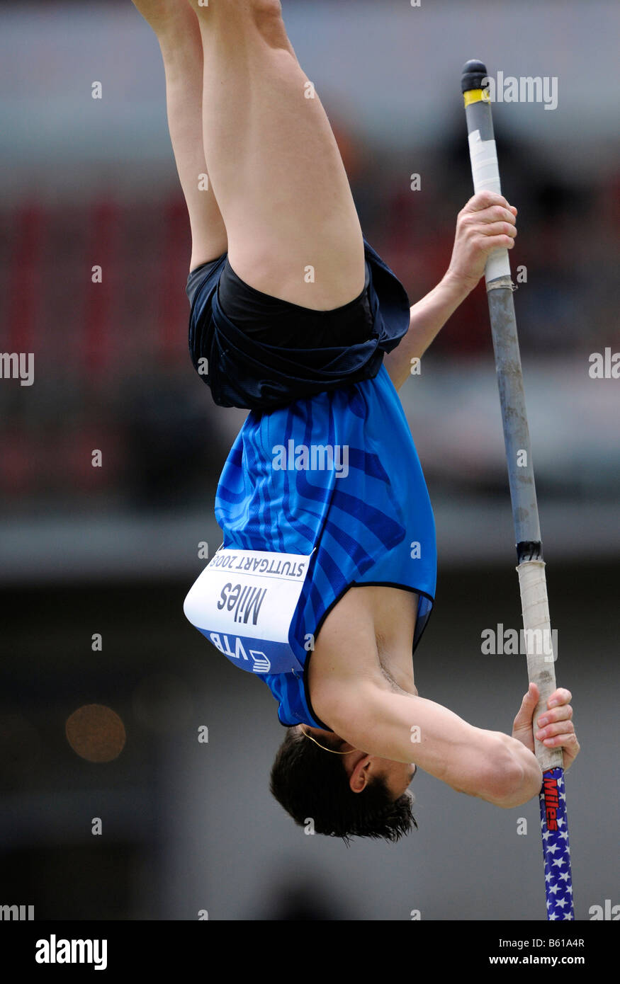 Derek MILES, USA, pole vault, first place, at the IAAF 2008 World Athletics Final for track and field in the Mercedes - Stock Image