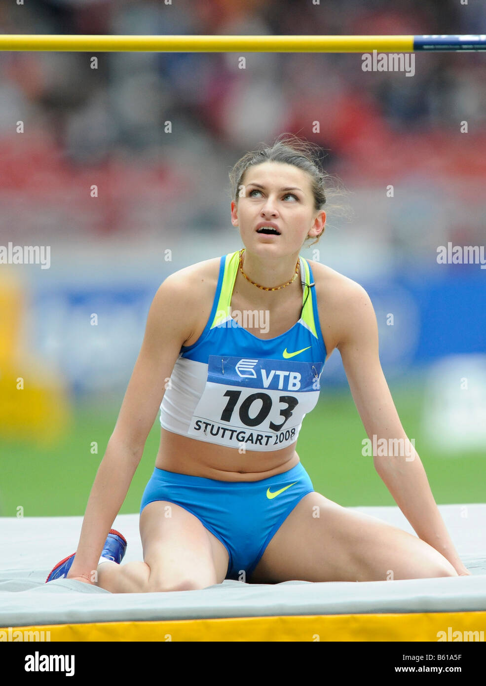 Anna CHICHEROVA, RUS, High Jump, at the IAAF 2008 World Athletics Final for track and field in the Mercedes-Benz - Stock Image