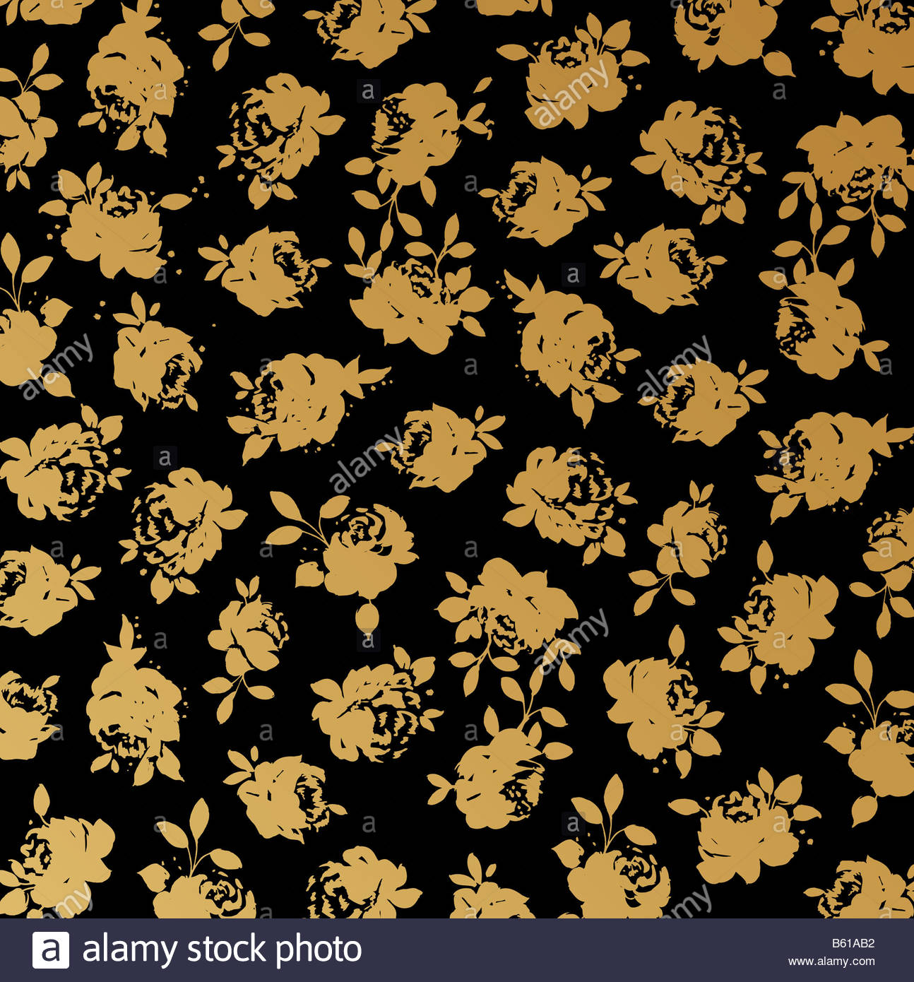 Black and gold rose wallpaper background Stock Photo