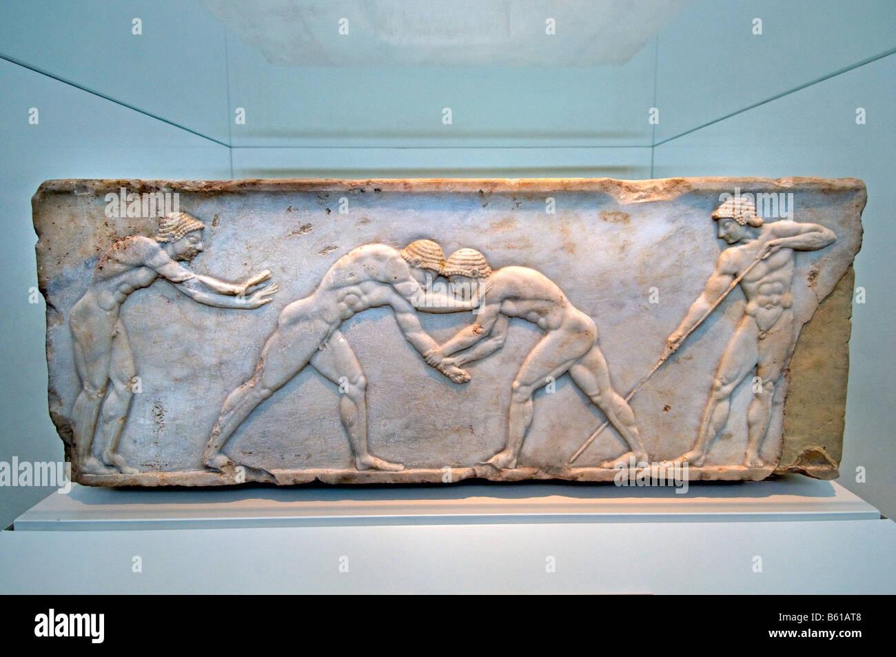 Funerary kouros kerameikos themistokleian wrestelers athlete athletes Greek Greece Museum - Stock Image
