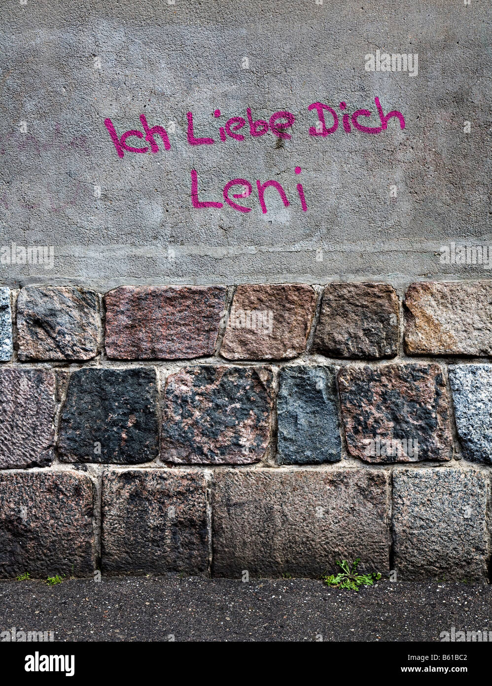 Ich Liebe Dich graffiti I Love You in German writing on wall Germany - Stock Image