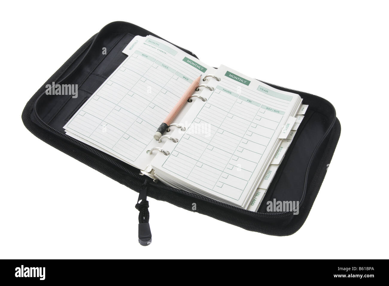 Pocket Organizer and Pencil - Stock Image
