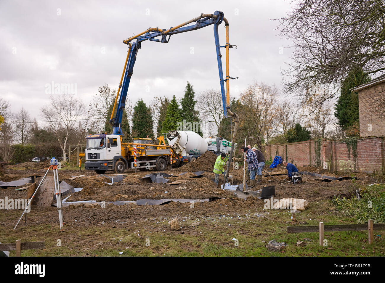 A general view across the building plot with Cement Pump in position. - Stock Image