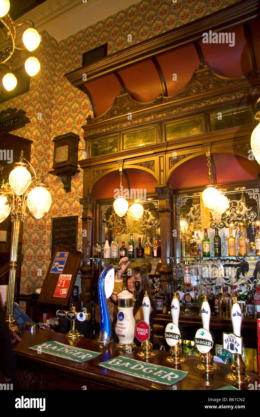 Interior of the St Stephens Tavern in London England - Stock Image