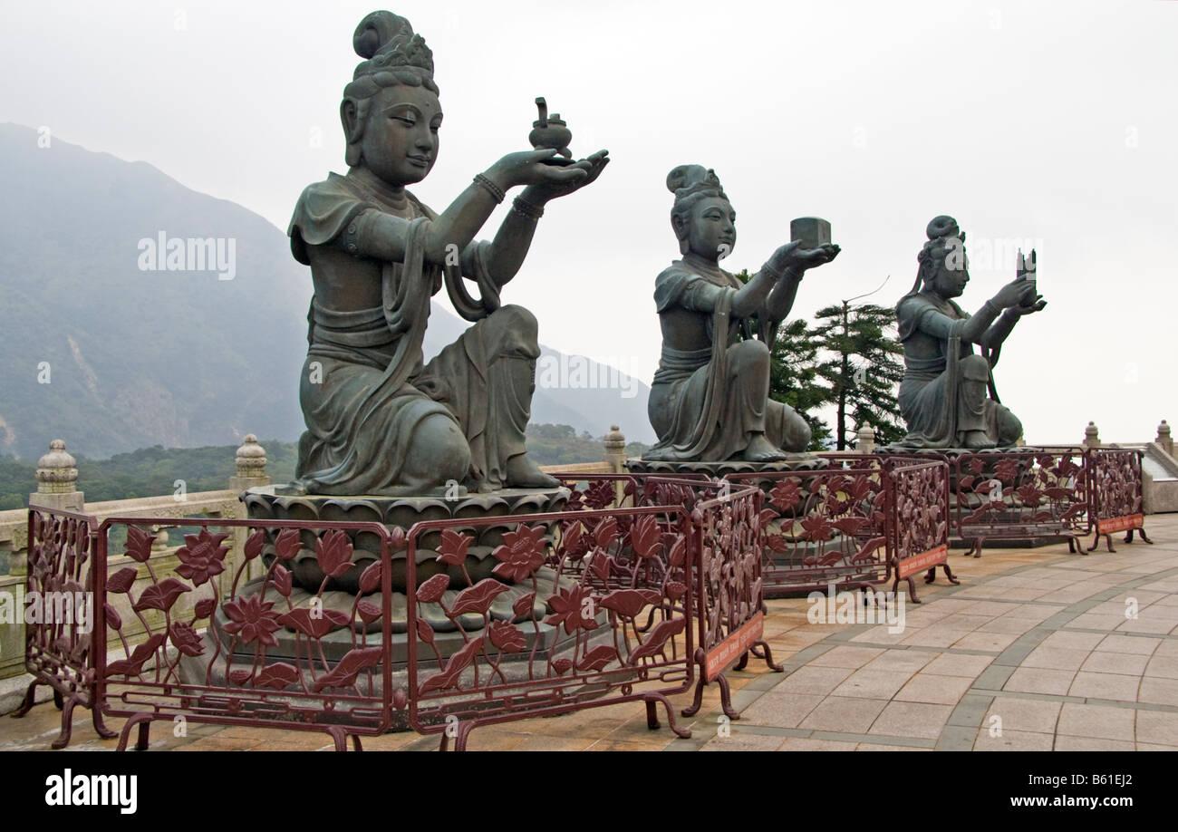 Statues at Big Buddha Po Lin Monastery Lantau Island Hong Kong - Stock Image