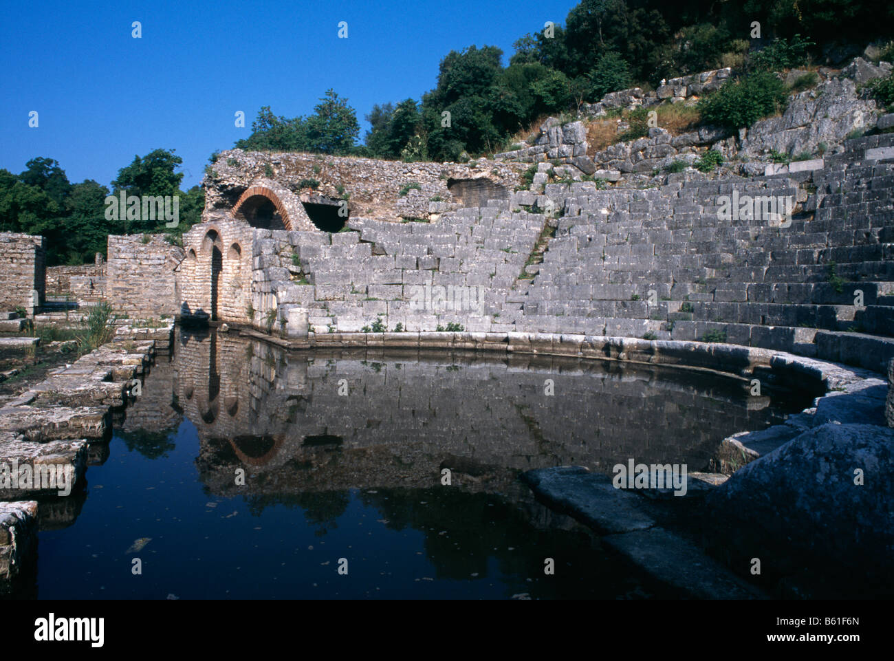 The Roman amphitheatre at Butrint in southern Albania 1994 - Stock Image