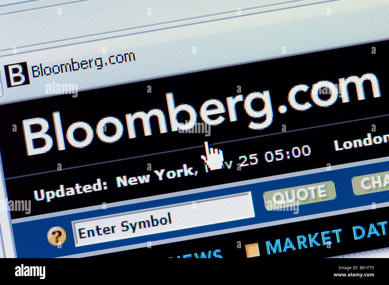 Macro screenshot of Bloomberg business website Editorial use only - Stock Image