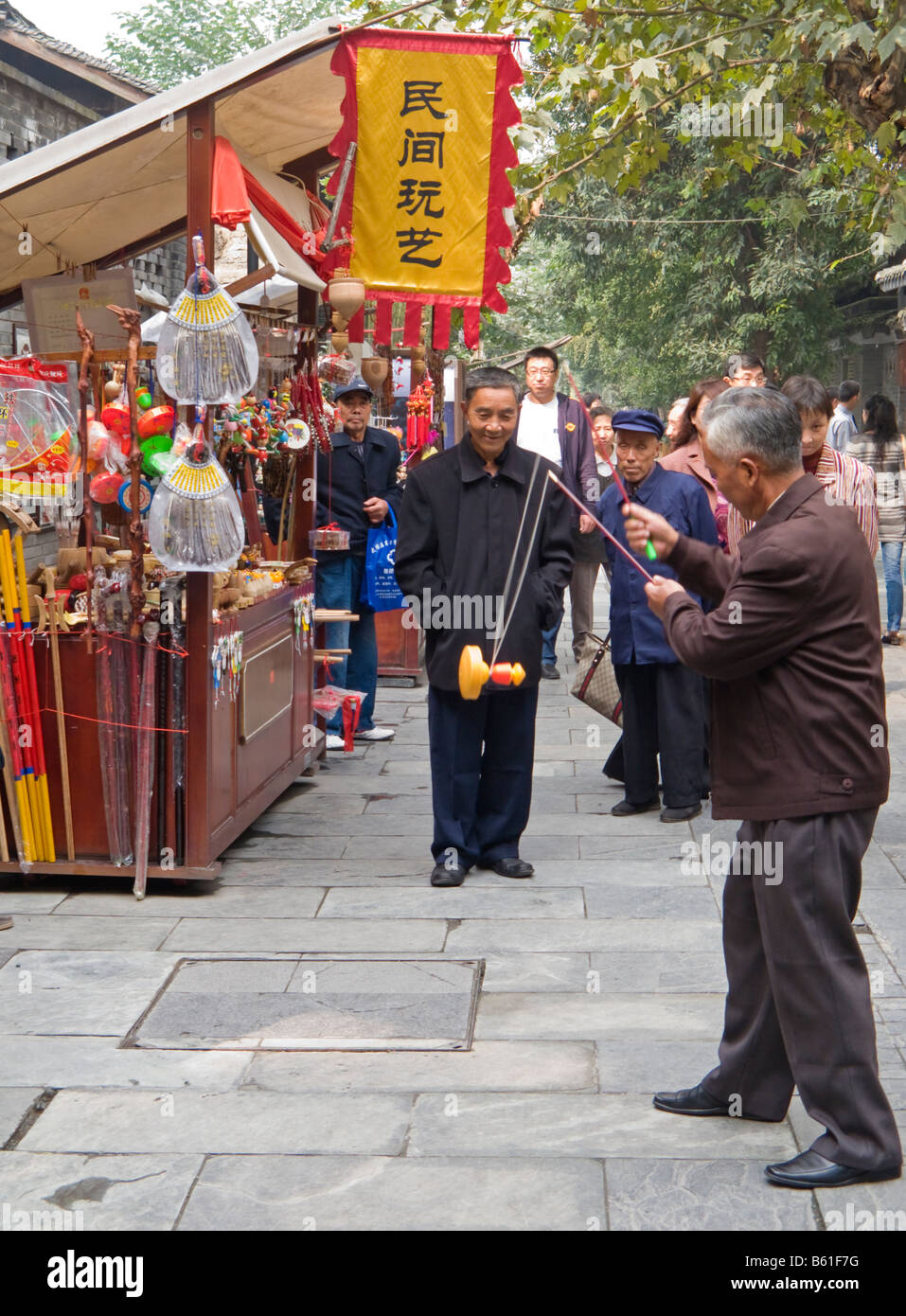 Market Stalls and Street Life in the Hutong Chengdu China - Stock Image