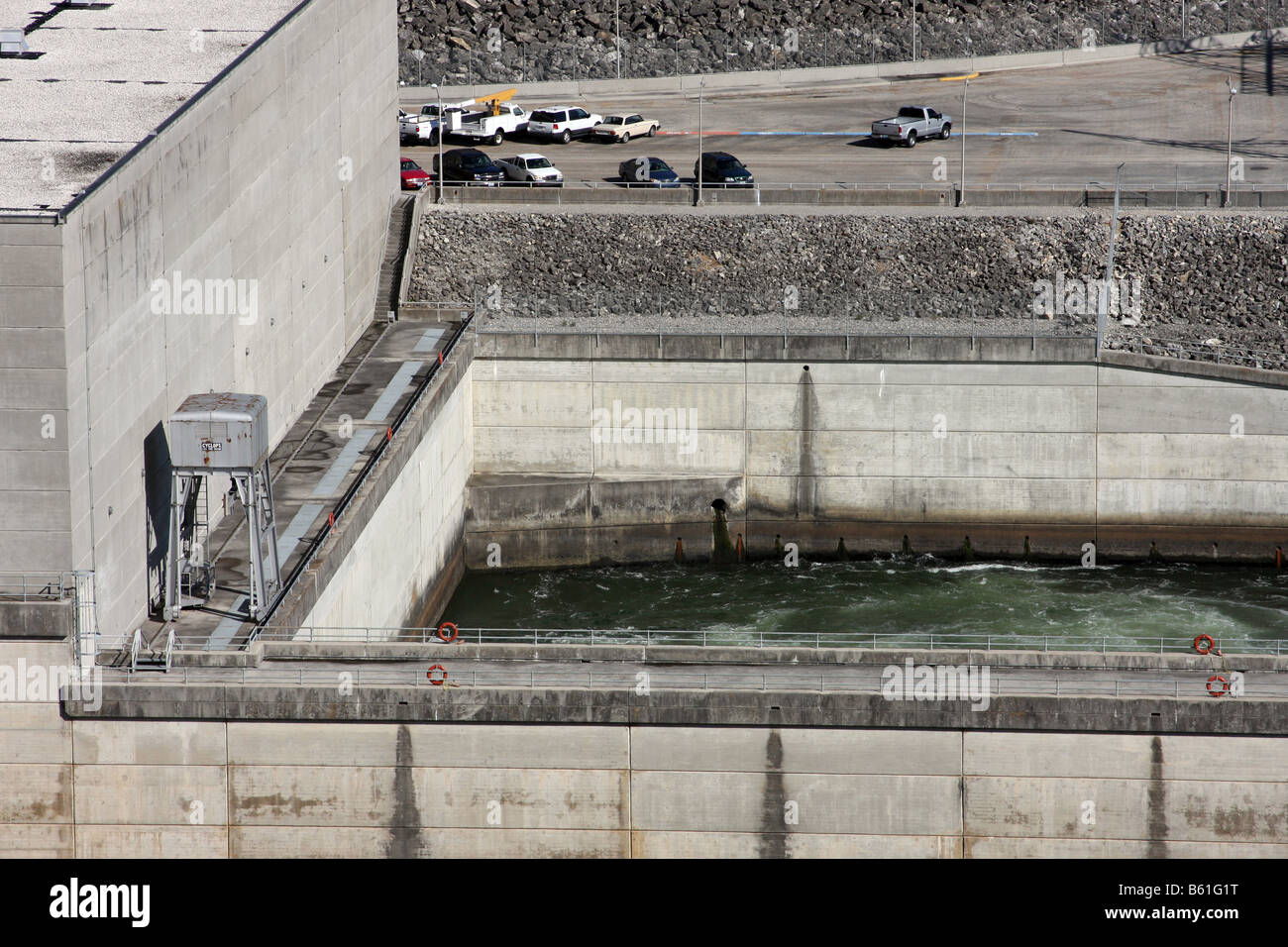 The output of water that generates hydro power electricity to the city of Branson below the Table Rock Dam Missouri - Stock Image