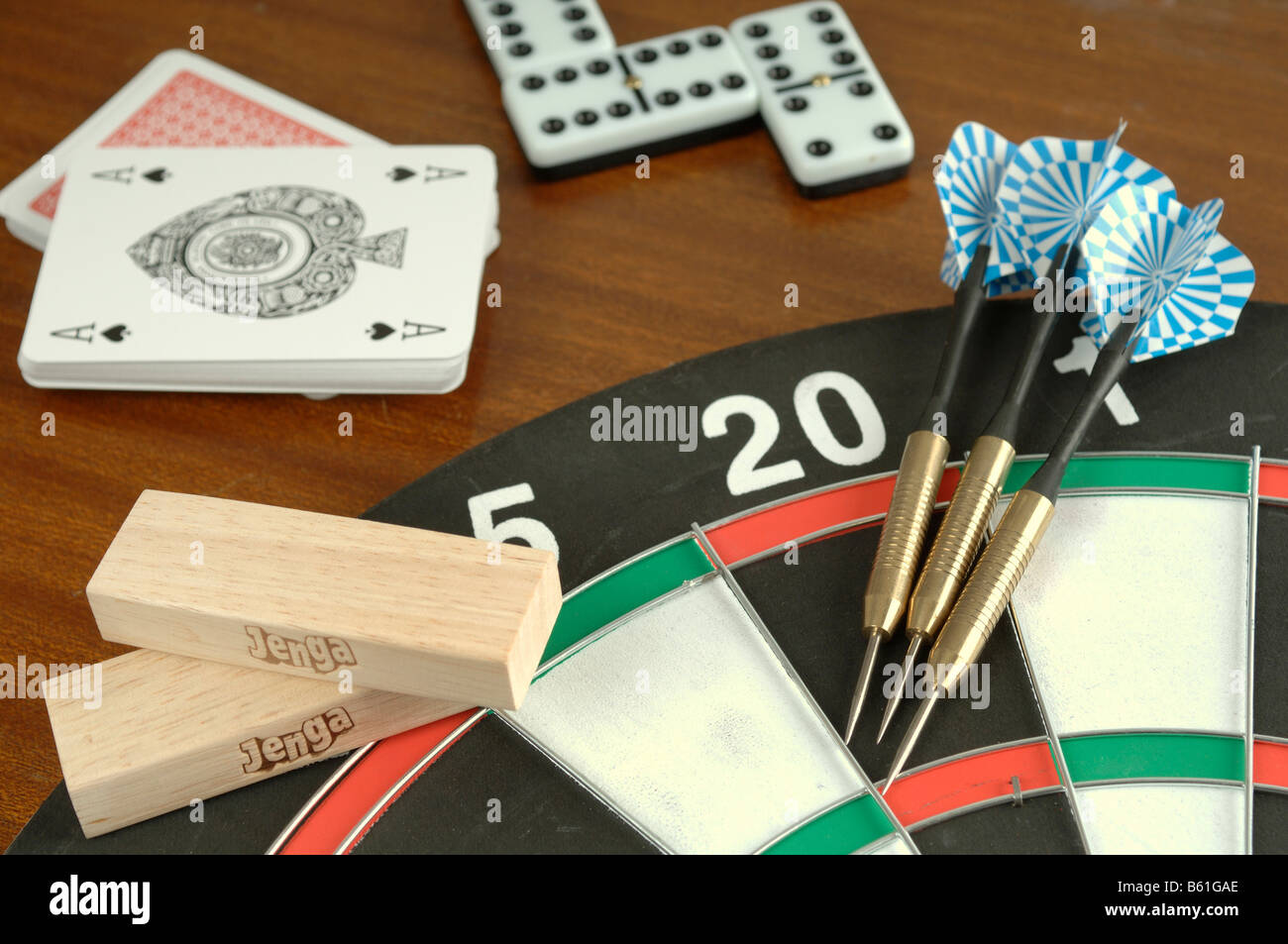 A Selection Of Pub Games Including Darts And Dominoes Stock Photo