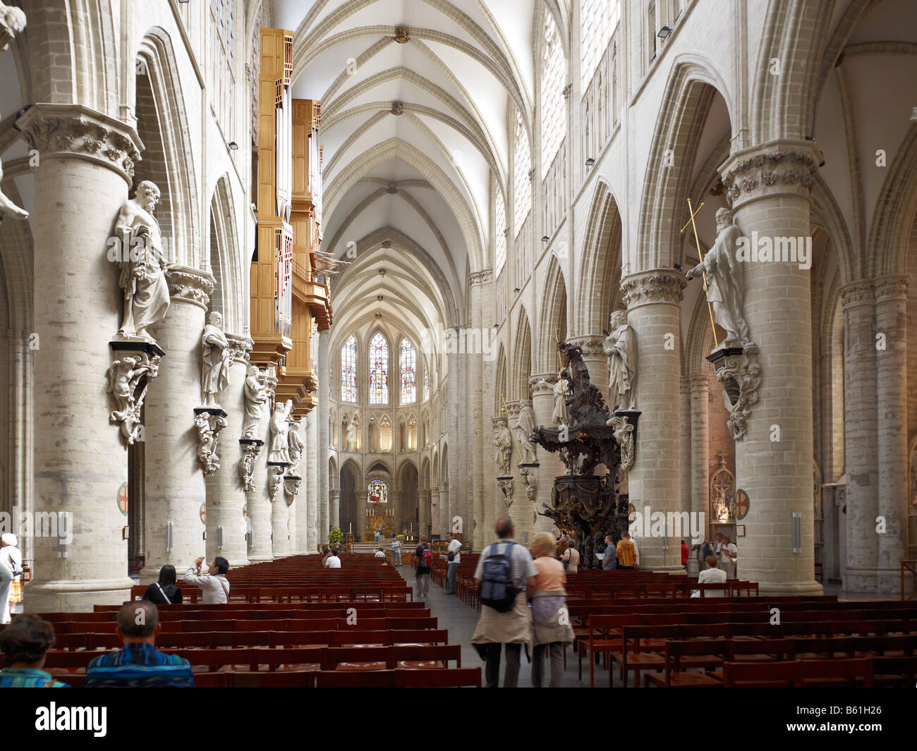 interior shot of Cathedral of St Michel Brussels Brabant Belgium - Stock Image