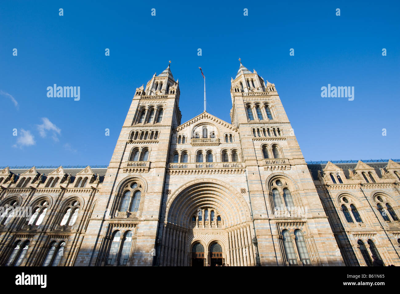 Front facade of Natural History Museum London United Kingdom - Stock Image
