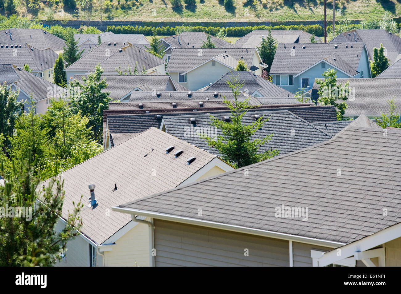 Rooftops of a housing development in the Issaquah Highlands W ashington United States Stock Photo